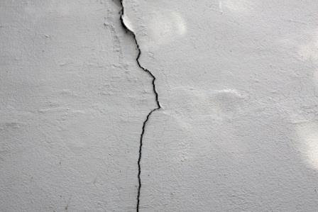 Leaks from a foundation wall crack